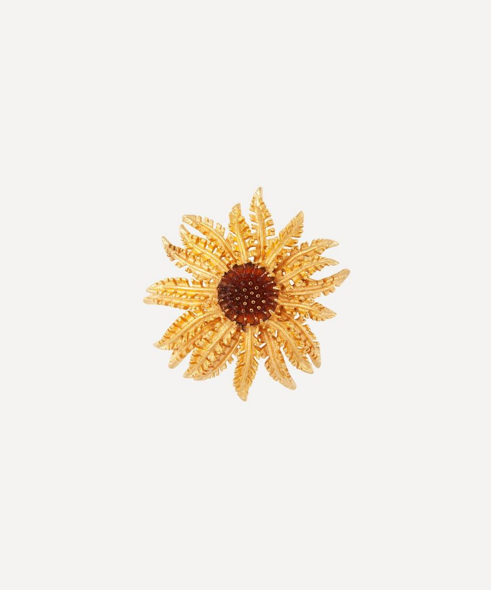Susan Caplan Vintage - Gold-Plated 1960s Sarah Coventry Faux Topaz Sunflower Brooch