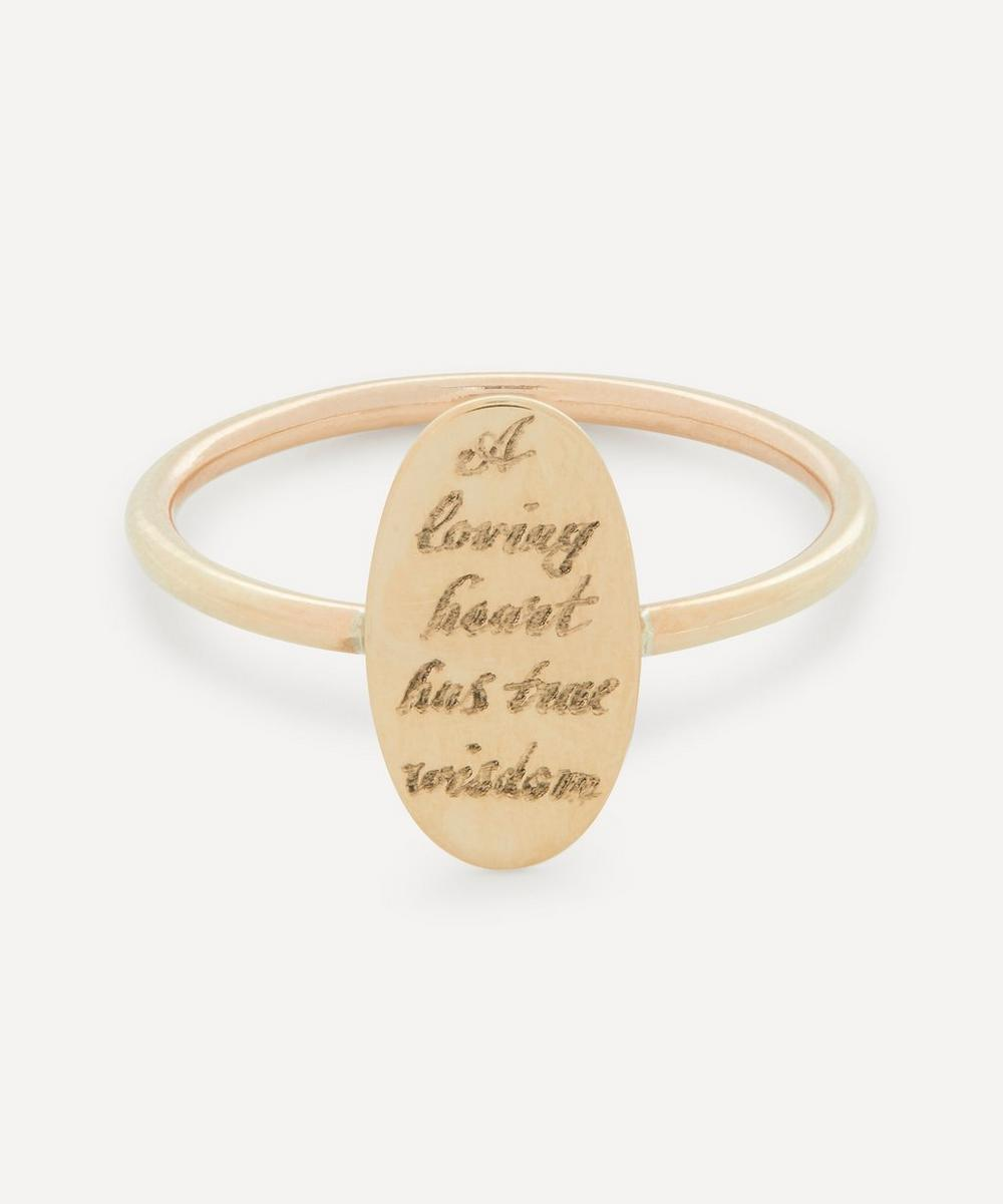Annina Vogel - 'A Loving Heart' Engraved Gold Disc Ring