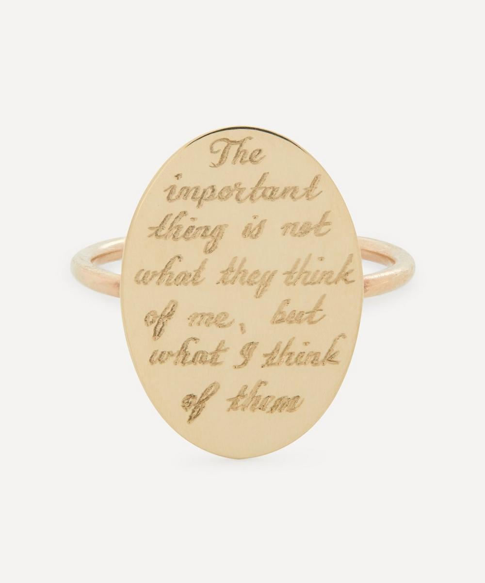 Annina Vogel - The Important Thing' Engraved Gold Disc Ring