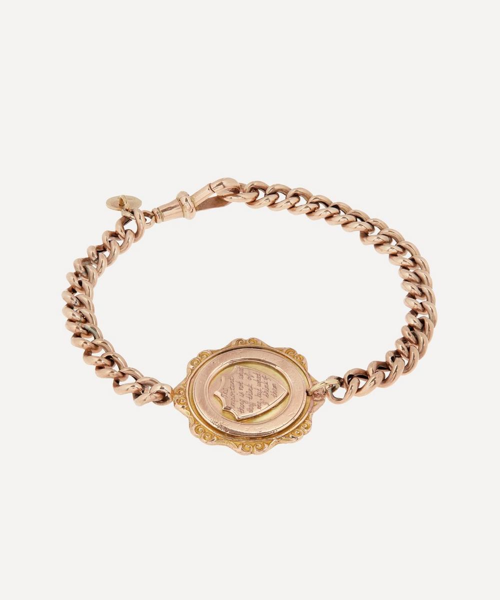 Annina Vogel - 'The Important Thing' Engraved Medallion Gold Bracelet
