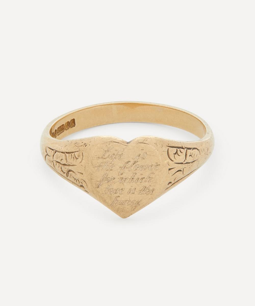 Annina Vogel - Life is the Flower' Engraved Gold Signet Ring