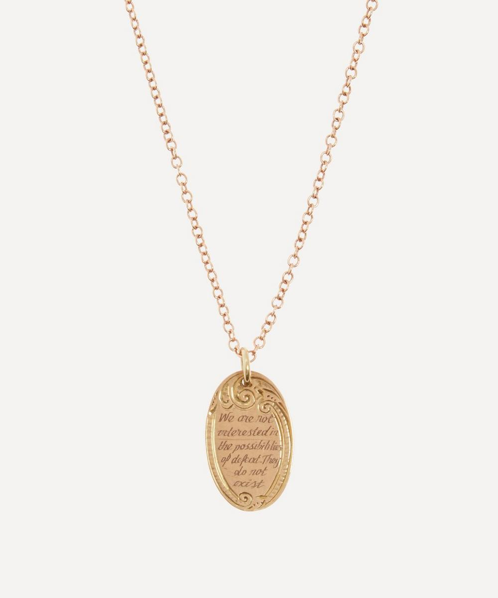 Annina Vogel - We Are Not Interested' Engraved Disc Rose Gold Necklace