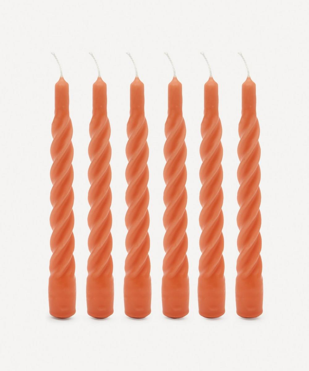 Anna + Nina - Matte Terracotta Twisted Candles Set of Six