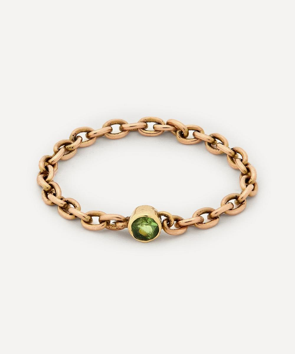 Annina Vogel - Peridot Solitaire Gold Chain Ring