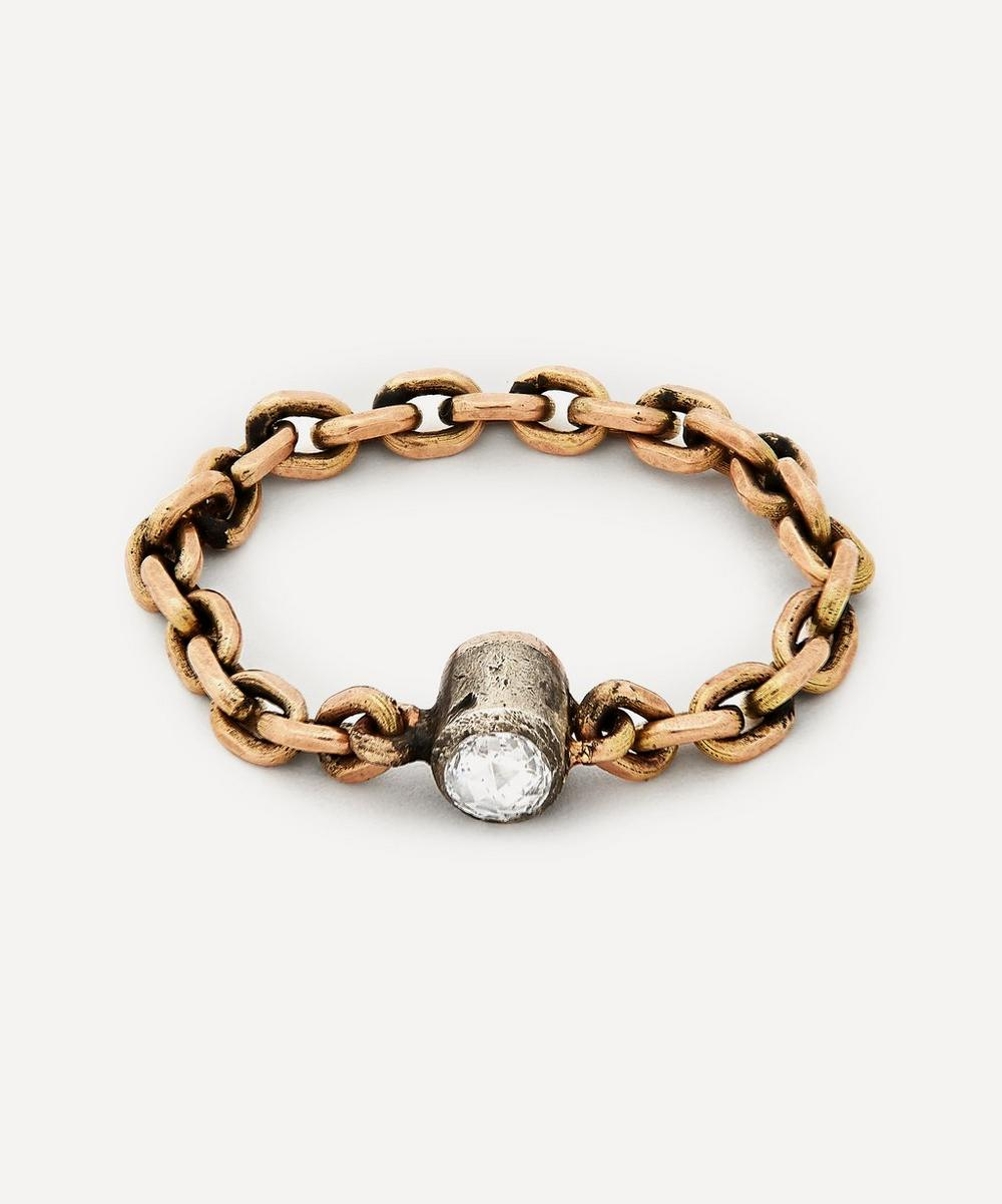 Annina Vogel - Rose Cut Diamond Solitaire Gold Chain Ring