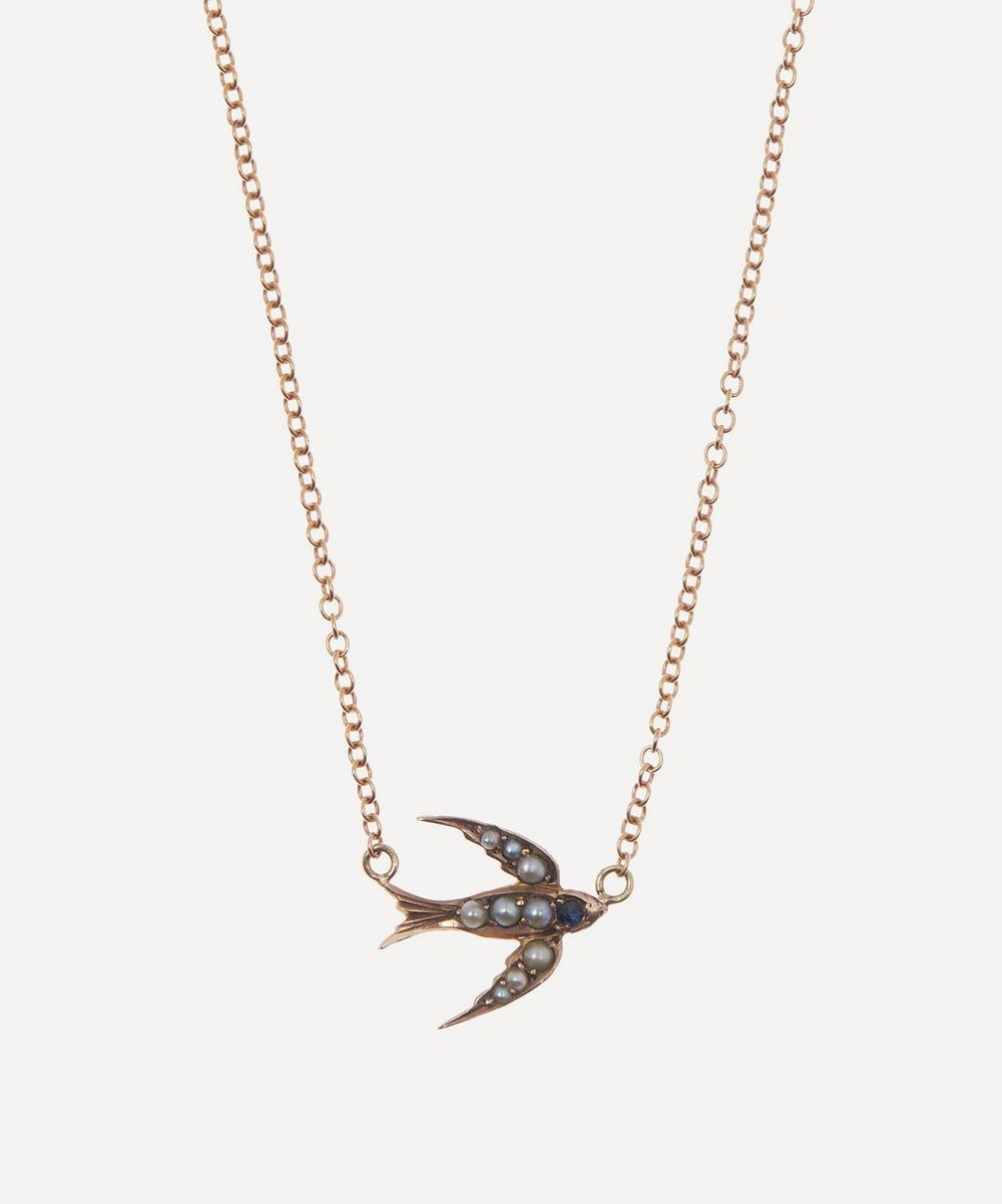 Annina Vogel - Pearl and Sapphire Swallow Victorian Brooch Conversion Rose Gold Necklace