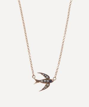 Pearl and Sapphire Swallow Victorian Brooch Conversion Rose Gold Necklace