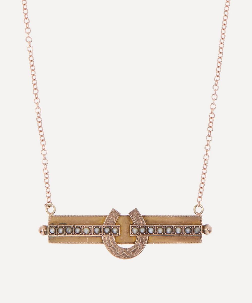 Annina Vogel - Pearl Bar Horseshoe Victorian Brooch Conversion Rose Gold Necklace