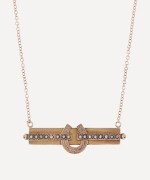 Pearl Bar Horseshoe Victorian Brooch Conversion Rose Gold Necklace