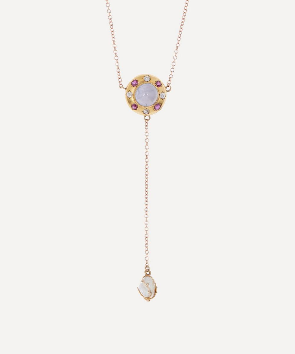 Annina Vogel - Multi-Stone Cluster and Single Baroque Pearl Drop Rose Gold Necklace