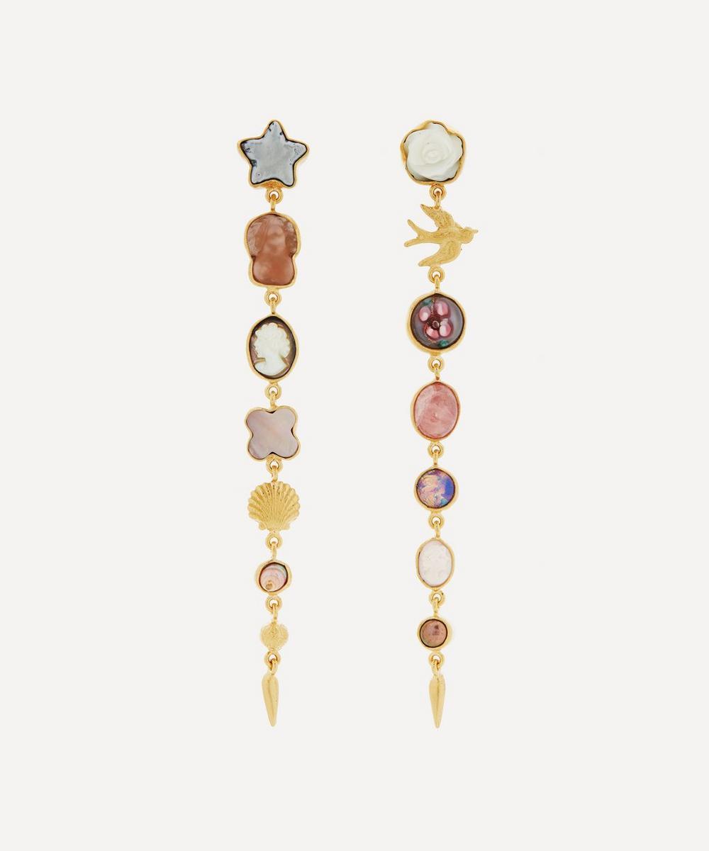 Grainne Morton - Gold-Plated Asymmetric Multi-Stone Seven Charm Victorian Drop Earrings