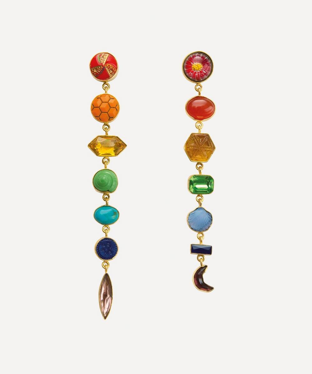 Grainne Morton - Gold-Plated Asymmetric Multi-Stone Rainbow Drop Earrings