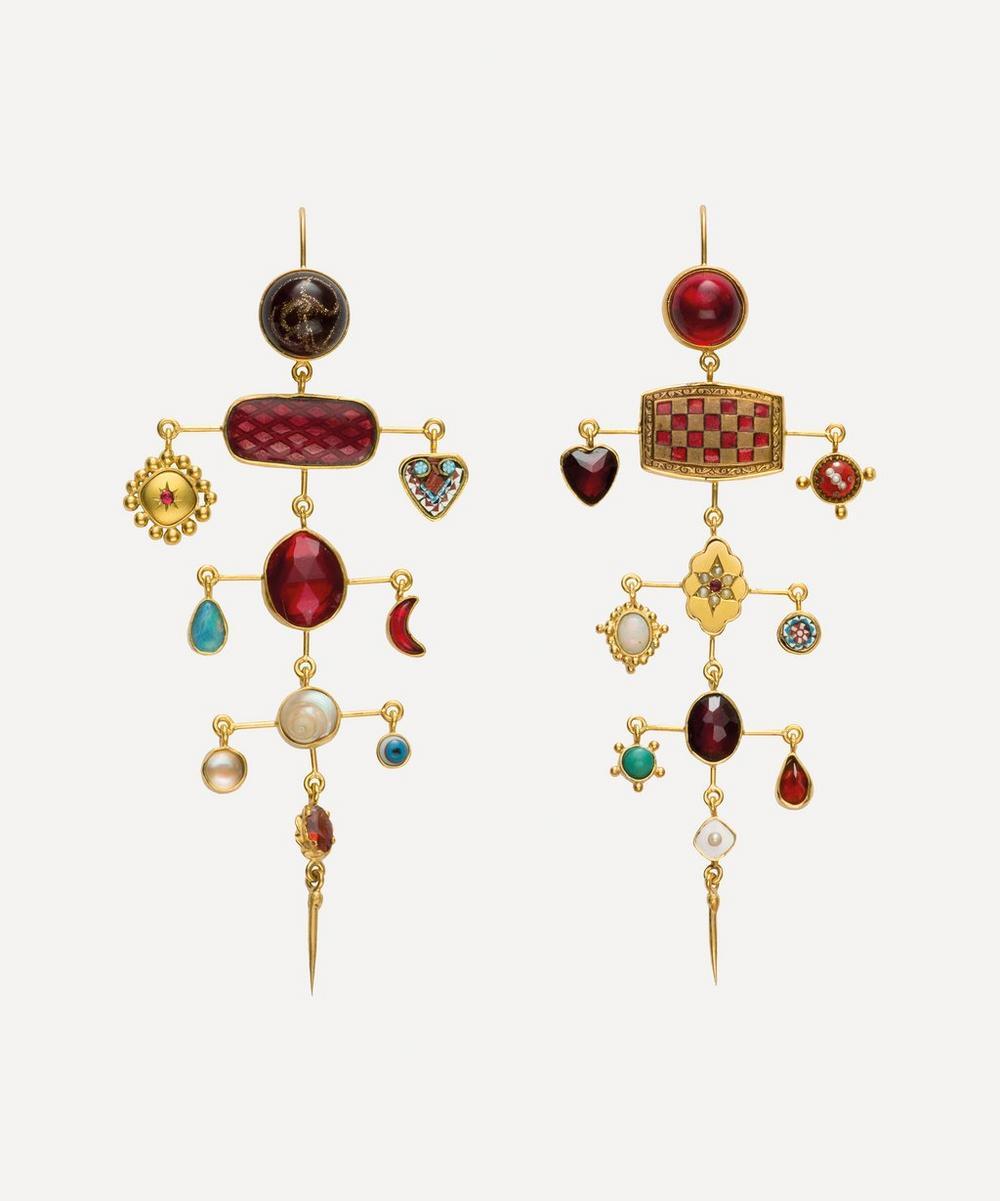 Grainne Morton - Gold-Plated Multi-Layer Balance Asymmetric Multi-Stone Victorian Drop Earrings