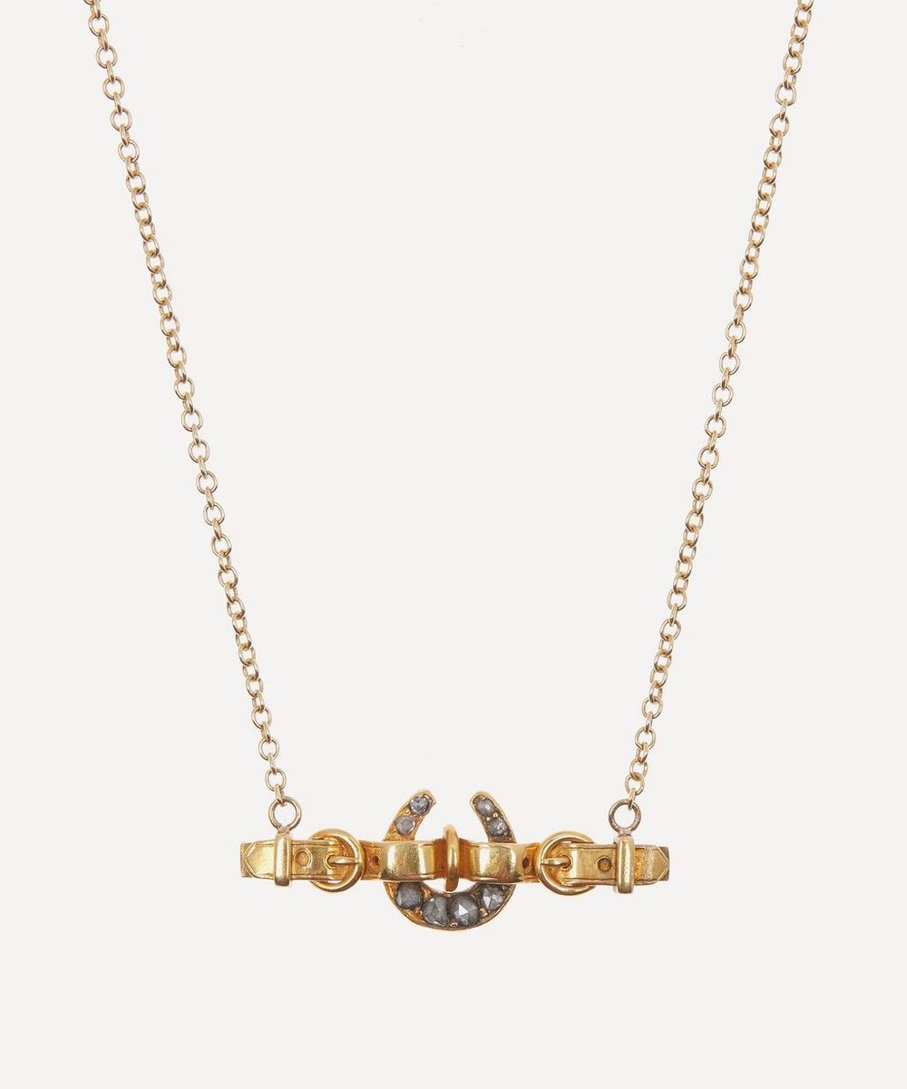 Annina Vogel - Rose Cut Diamond Horseshoe Belt Victorian Brooch Conversion Gold Necklace