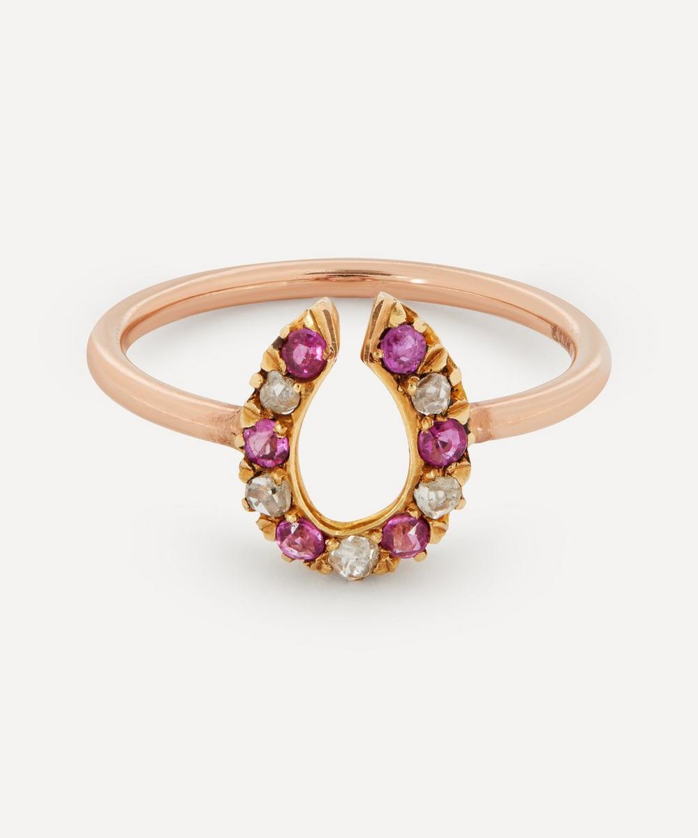 Annina Vogel - Rose Cut Diamond and Ruby Horseshoe Rose Gold Ring