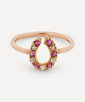 Rose Cut Diamond and Ruby Horseshoe Rose Gold Ring