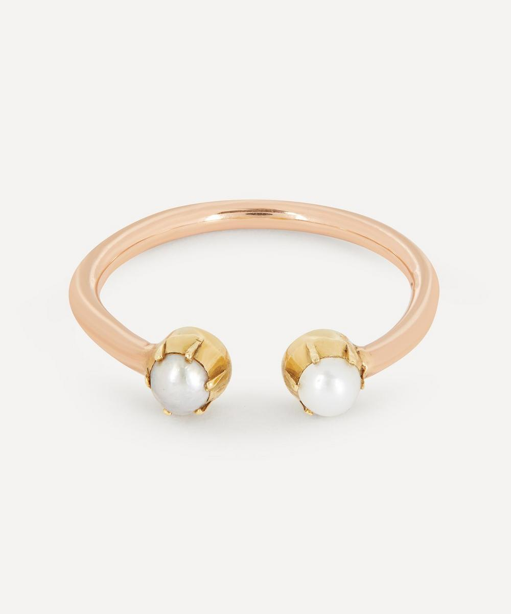 Annina Vogel - Pearl Toi et Moi Rose Gold Ring image number 0