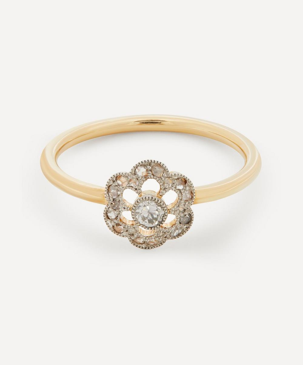 Annina Vogel - Old Cut Diamond Platinum Set Flower Cluster Gold Ring
