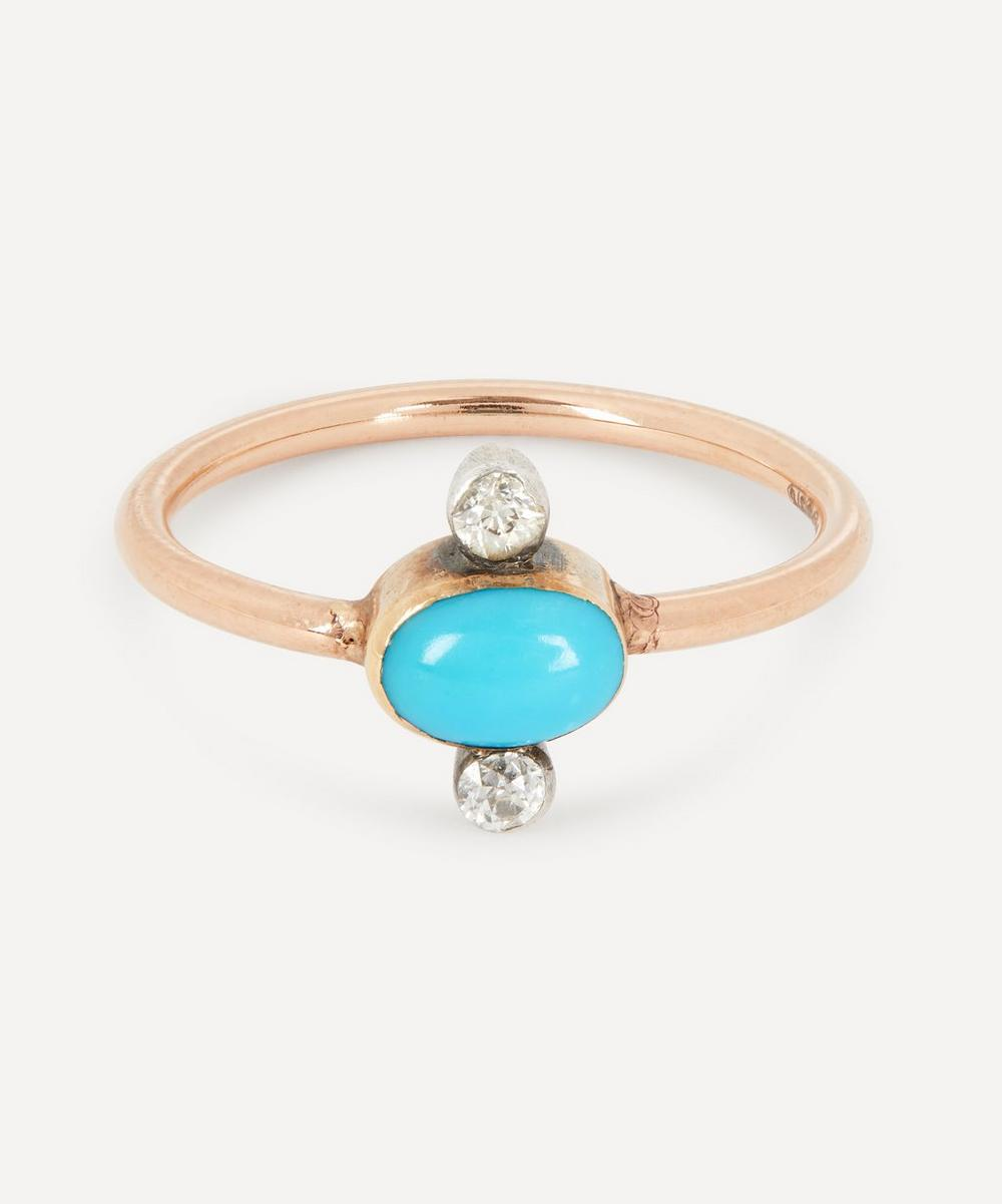 Annina Vogel - Rose Cut Diamond and Turquoise Rose Gold Ring