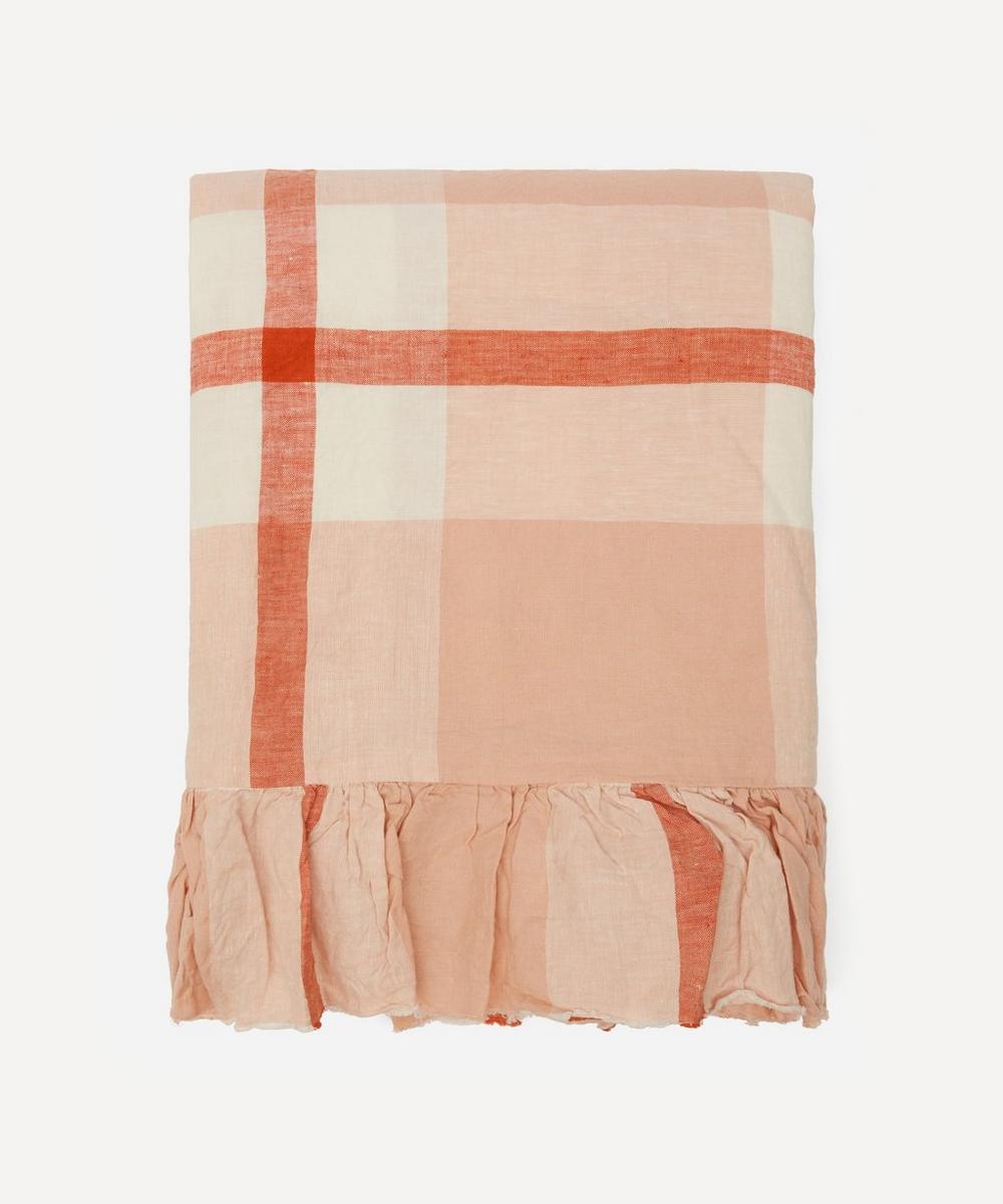 Society of Wanderers - Floss Check Ruffle King Single Flat Sheet