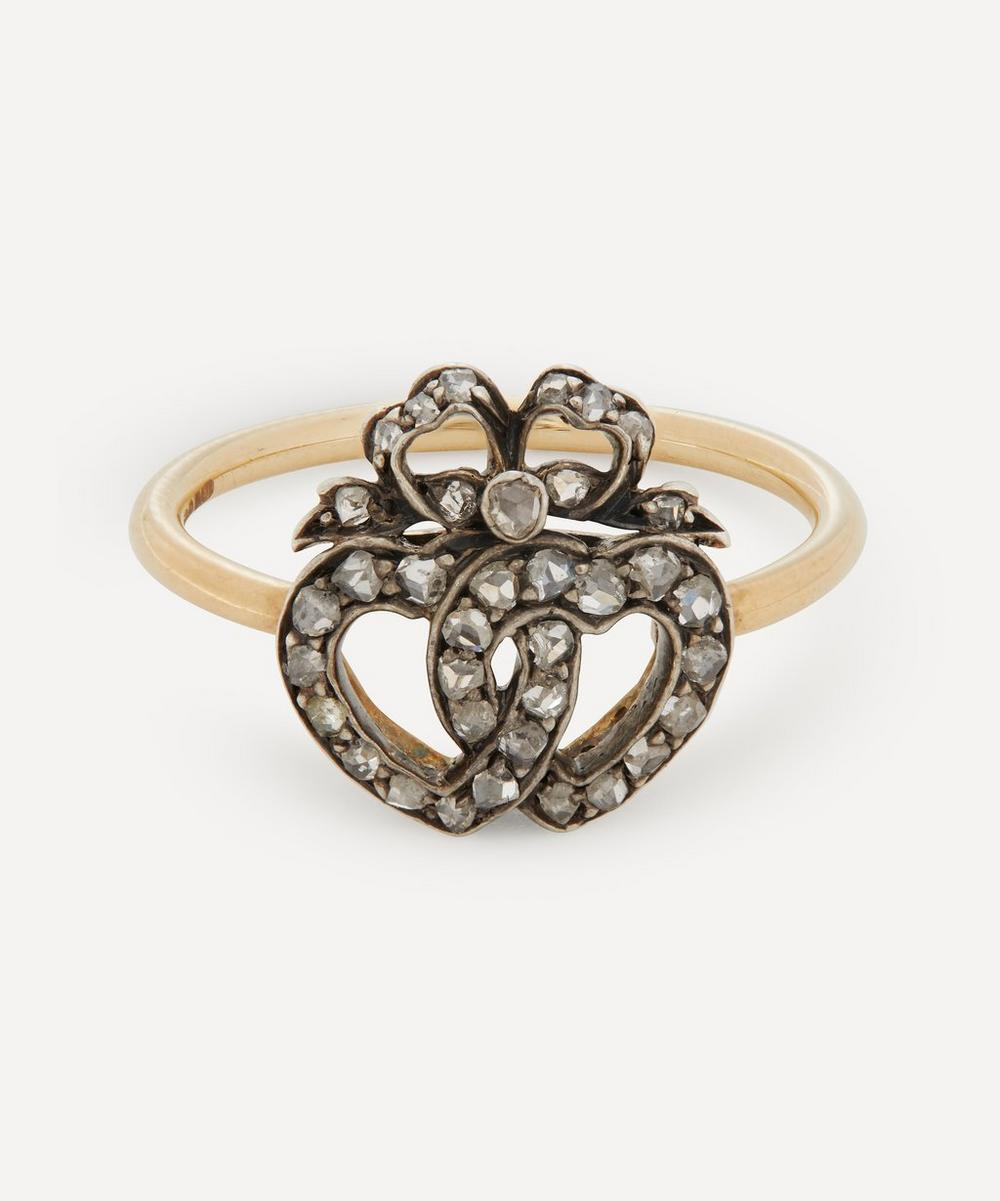 Annina Vogel - Rose Cut Diamond Double Heart and Bow Gold Ring