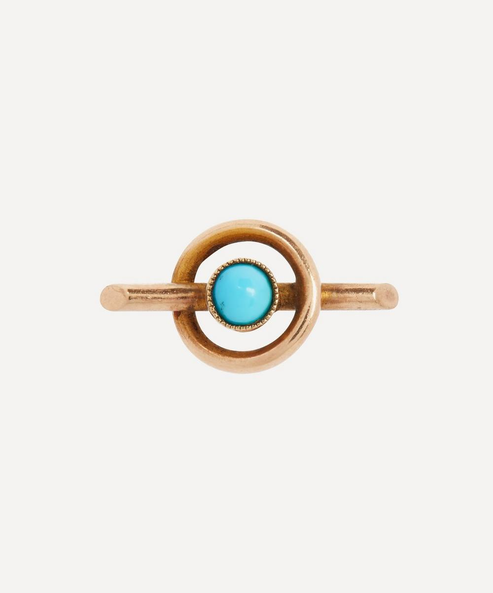 Annina Vogel - Turquoise Circle Bar Single Gold Stud Earring
