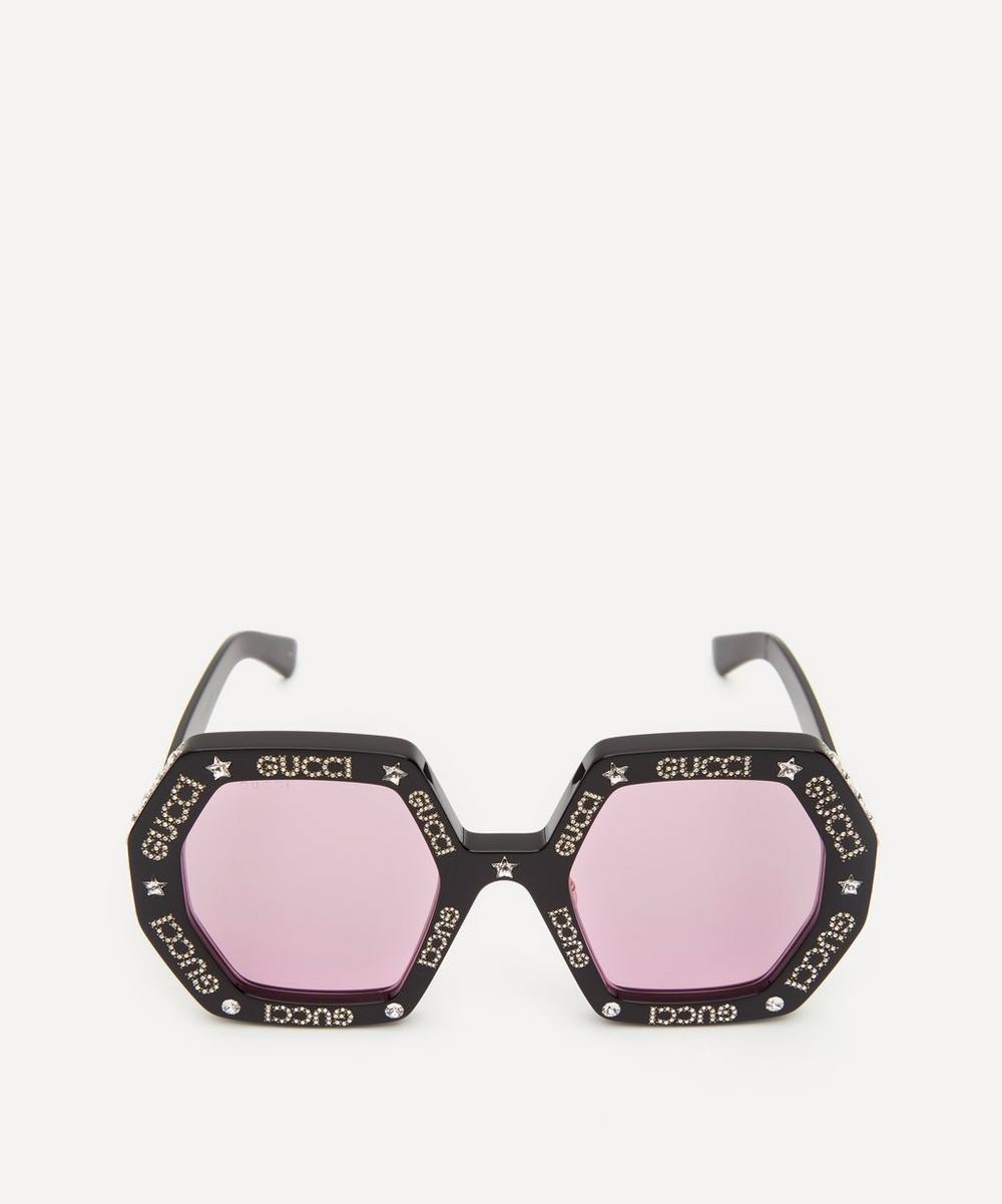 Gucci - Crystal Logo Octagonal Sunglasses