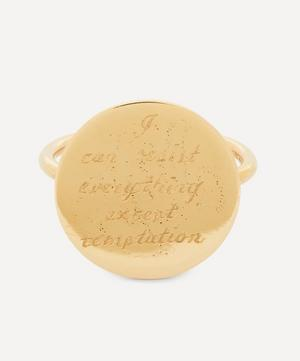 I Can Resist' Engraved Gold Disc Ring