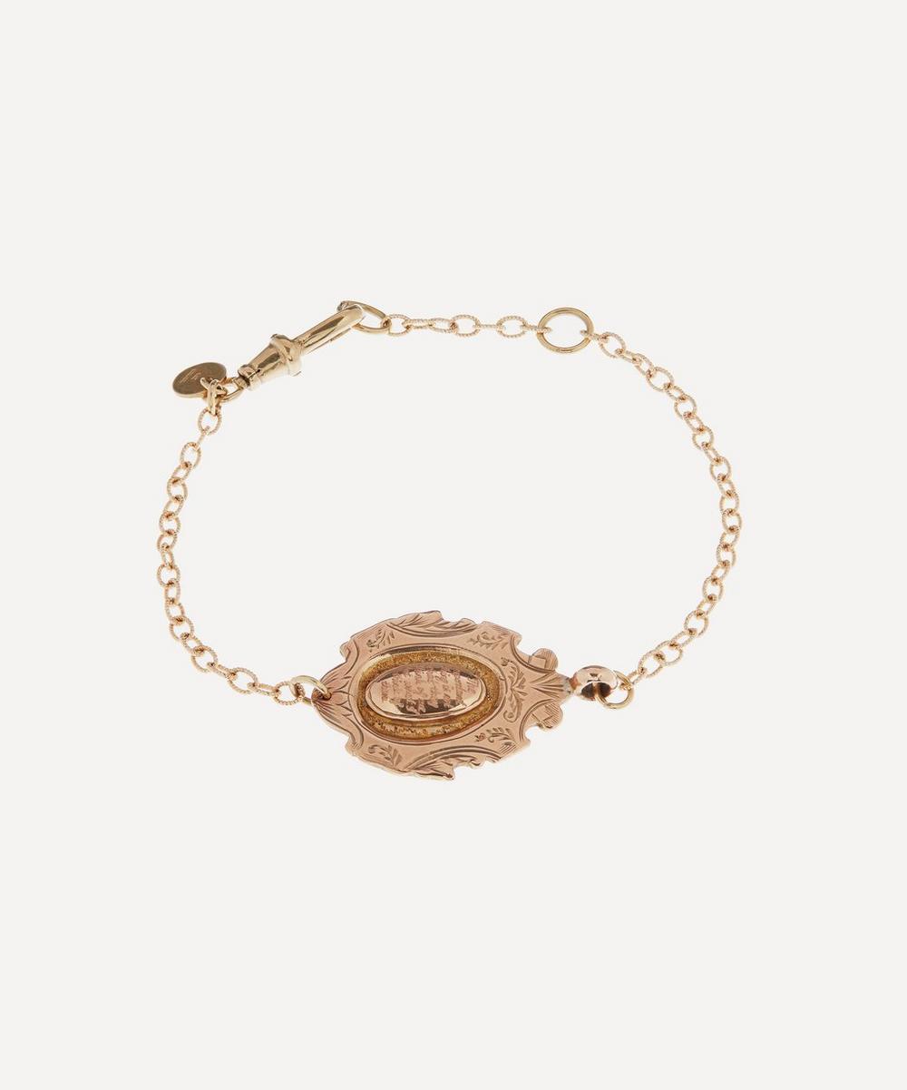 Annina Vogel - The Important Thing' Engraved Medallion Modern Chain Gold Bracelet
