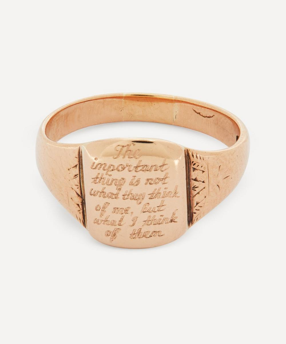Annina Vogel - The Important Thing' Engraved Gold Signet Ring