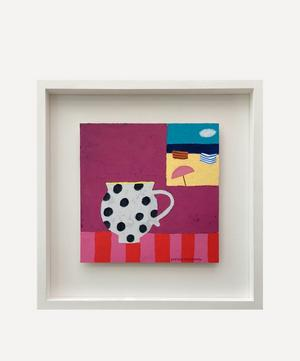 Spotty Cup and Sea View Original Framed Painting