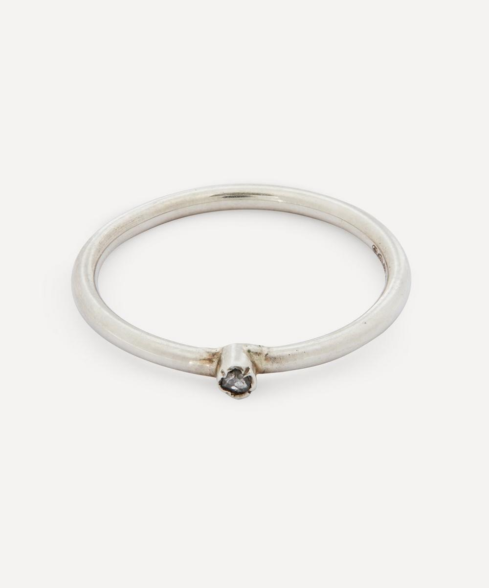 Annina Vogel - Rose Cut Diamond Tube Set Silver Ring