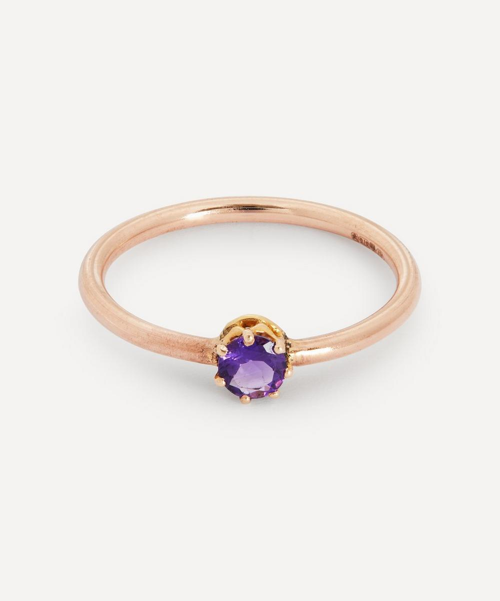 Annina Vogel - Amethyst Solitaire Claw Set Rose Gold Ring