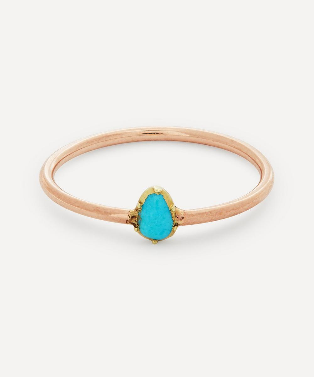 Annina Vogel - Pear Shaped Turquoise Solitaire Rose Gold Ring
