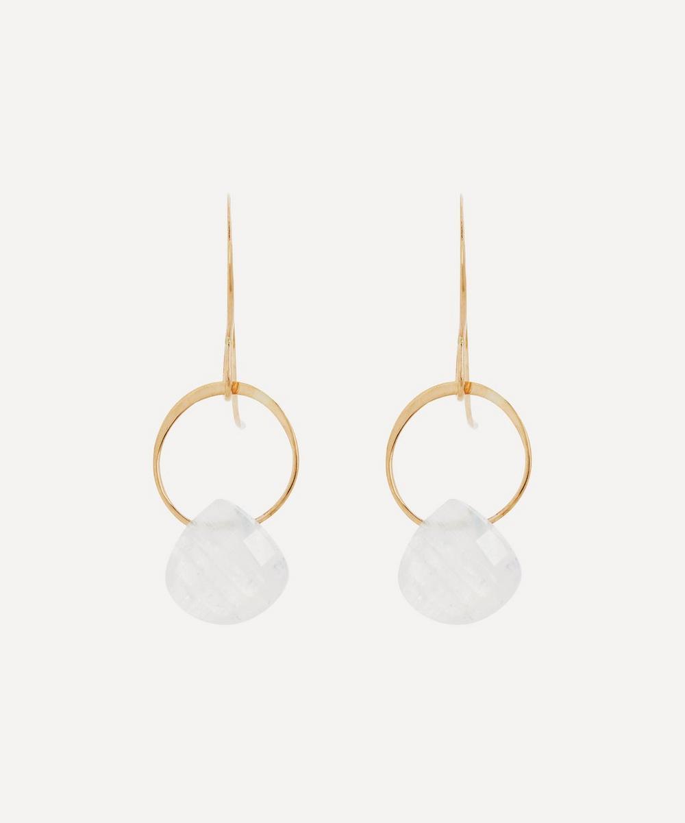 Melissa Joy Manning - Gold Rainbow Moonstone Single Drop Earrings