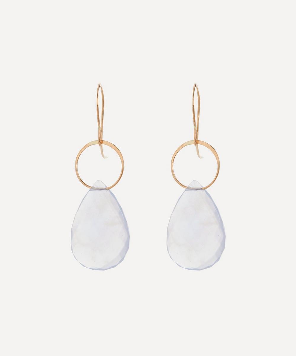 Melissa Joy Manning - Gold Blue Chalcedony Single Drop Earrings