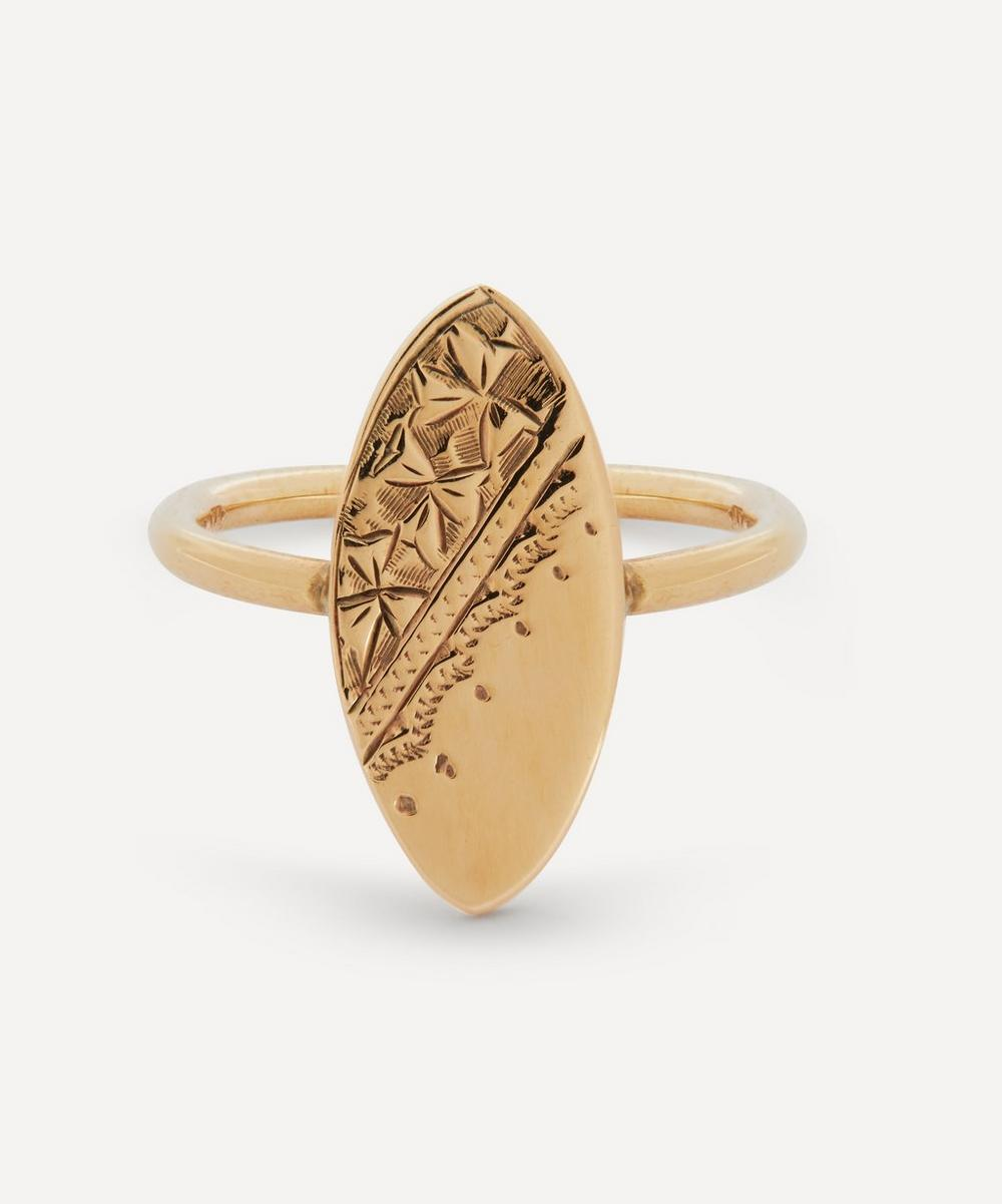 Annina Vogel - Engraved Cufflink Conversion Gold Disc Ring