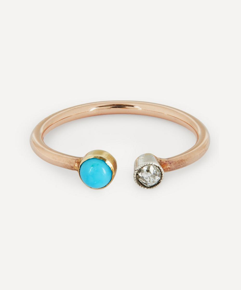 Annina Vogel - Old Cut Diamond and Turquoise Toi et Moi Rose Gold Ring