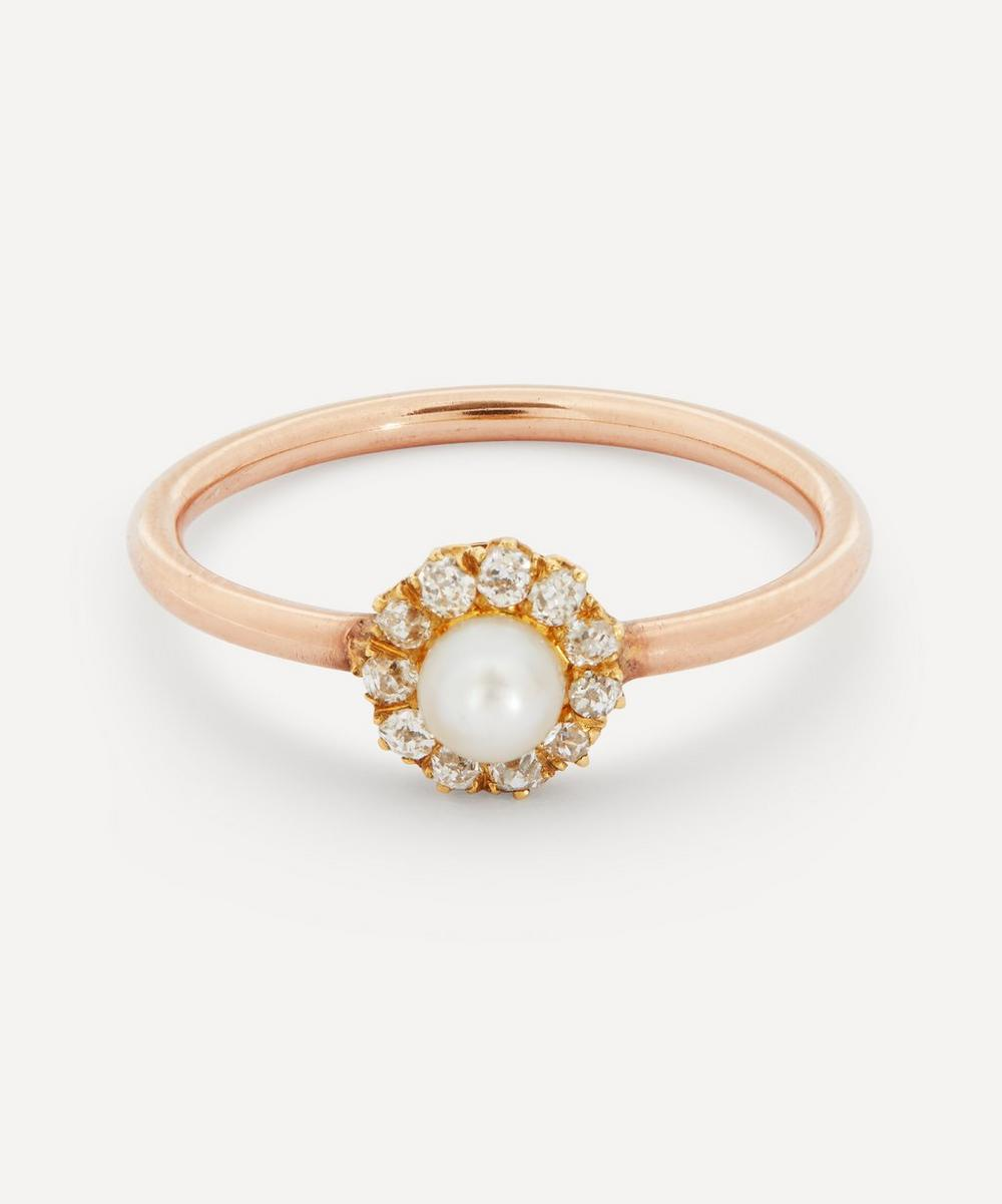 Annina Vogel - Old Cut Diamond and Pearl Cluster Rose Gold Ring