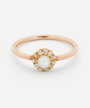 Old Cut Diamond and Pearl Cluster Rose Gold Ring