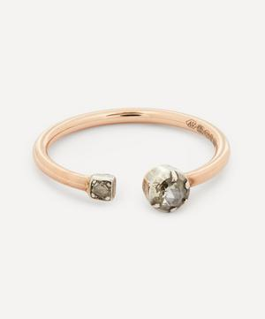 Old Cut Diamond Square Set and Round Set Toi et Moi Rose Gold Ring