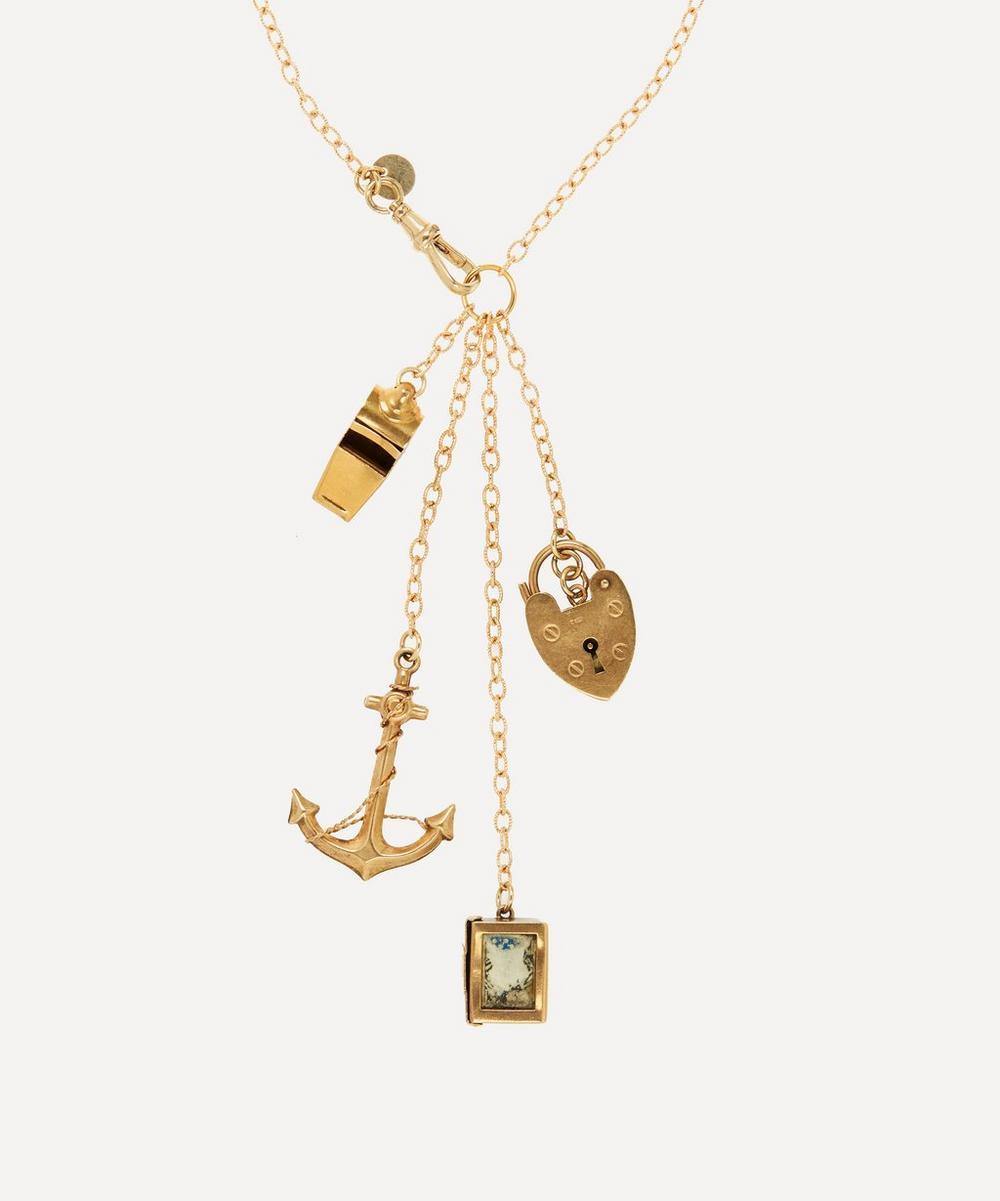 Annina Vogel - Exotic Traveller Long Signature Gold Charm Necklace