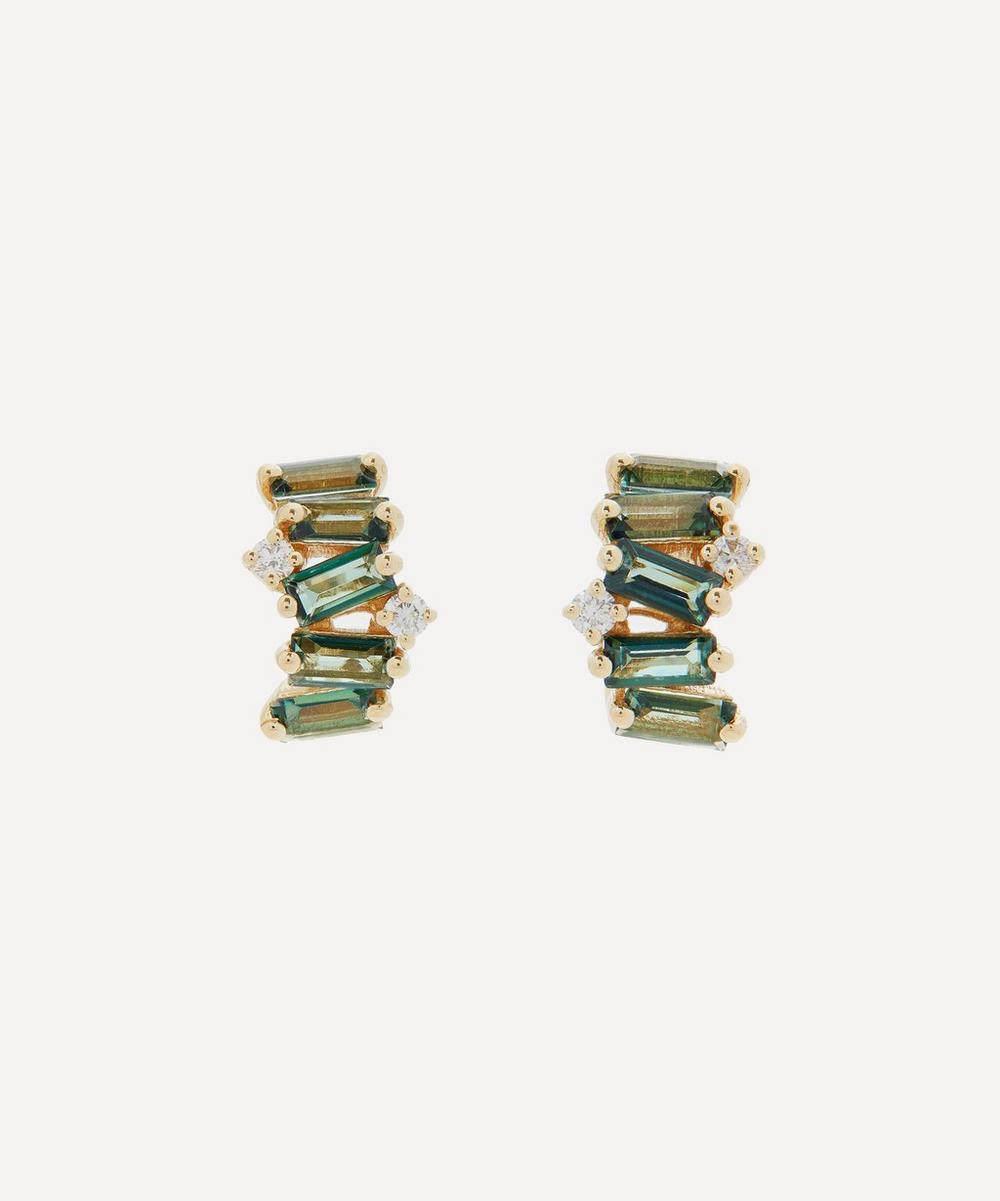 Suzanne Kalan - Gold Green Envy Topaz and Diamond Hoop Earrings