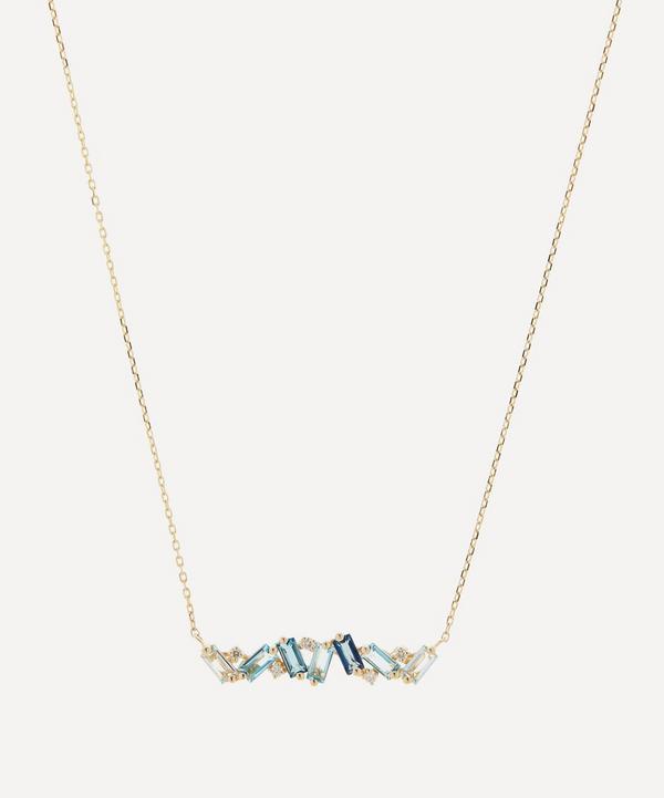 Suzanne Kalan - Gold Multi Blue Topaz and Diamond Baguette Bar Pendant Necklace