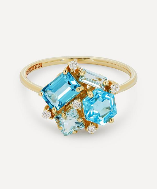 Suzanne Kalan - Gold Multi Blue Topaz and Diamond Cluster Ring