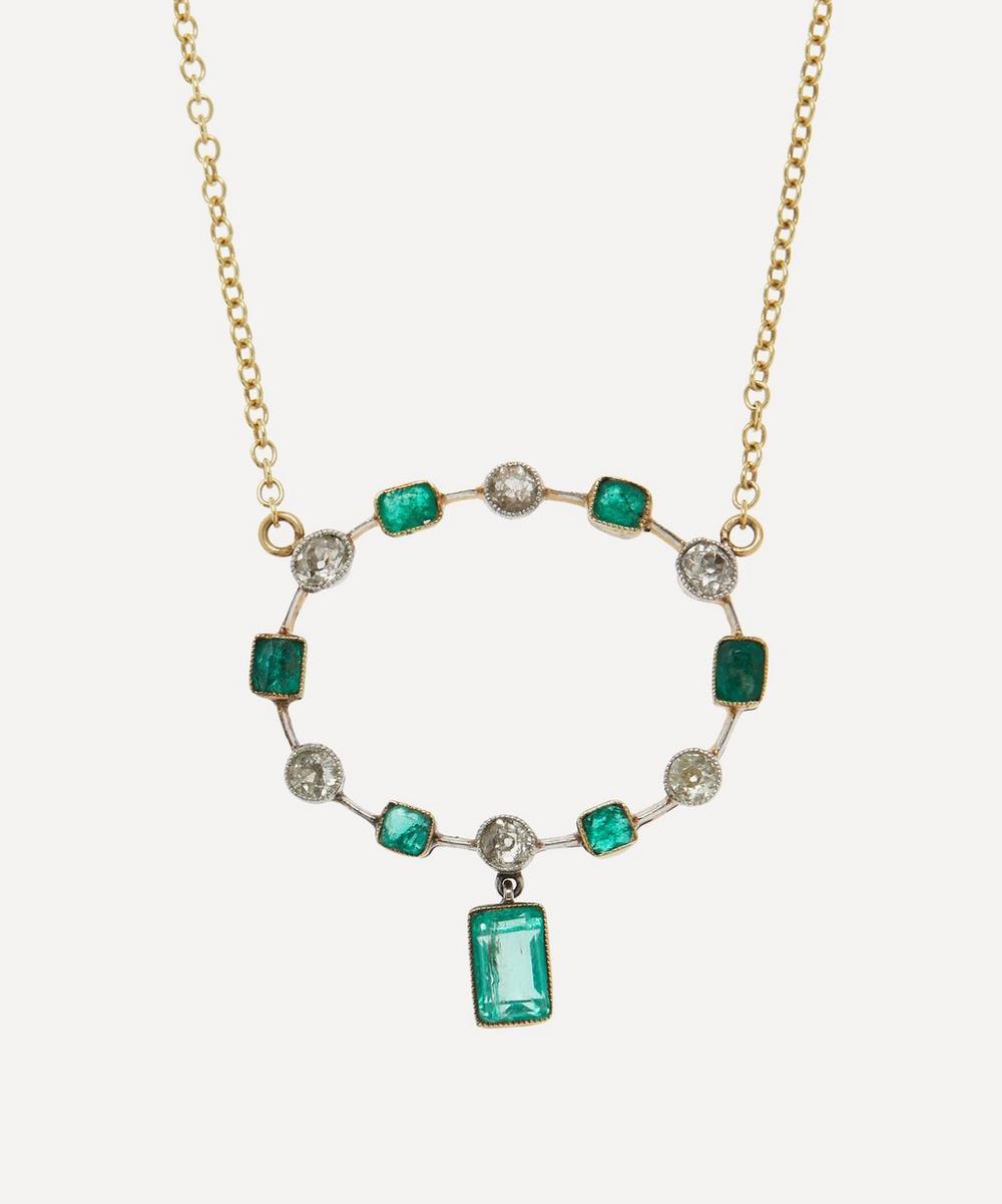 Annina Vogel - Old Cut Diamond and Emerald Platinum Set Circle Victorian Brooch Conversion Gold Necklace