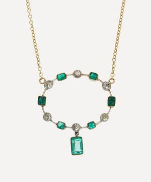 Old Cut Diamond and Emerald Platinum Set Circle Victorian Brooch Conversion Gold Necklace
