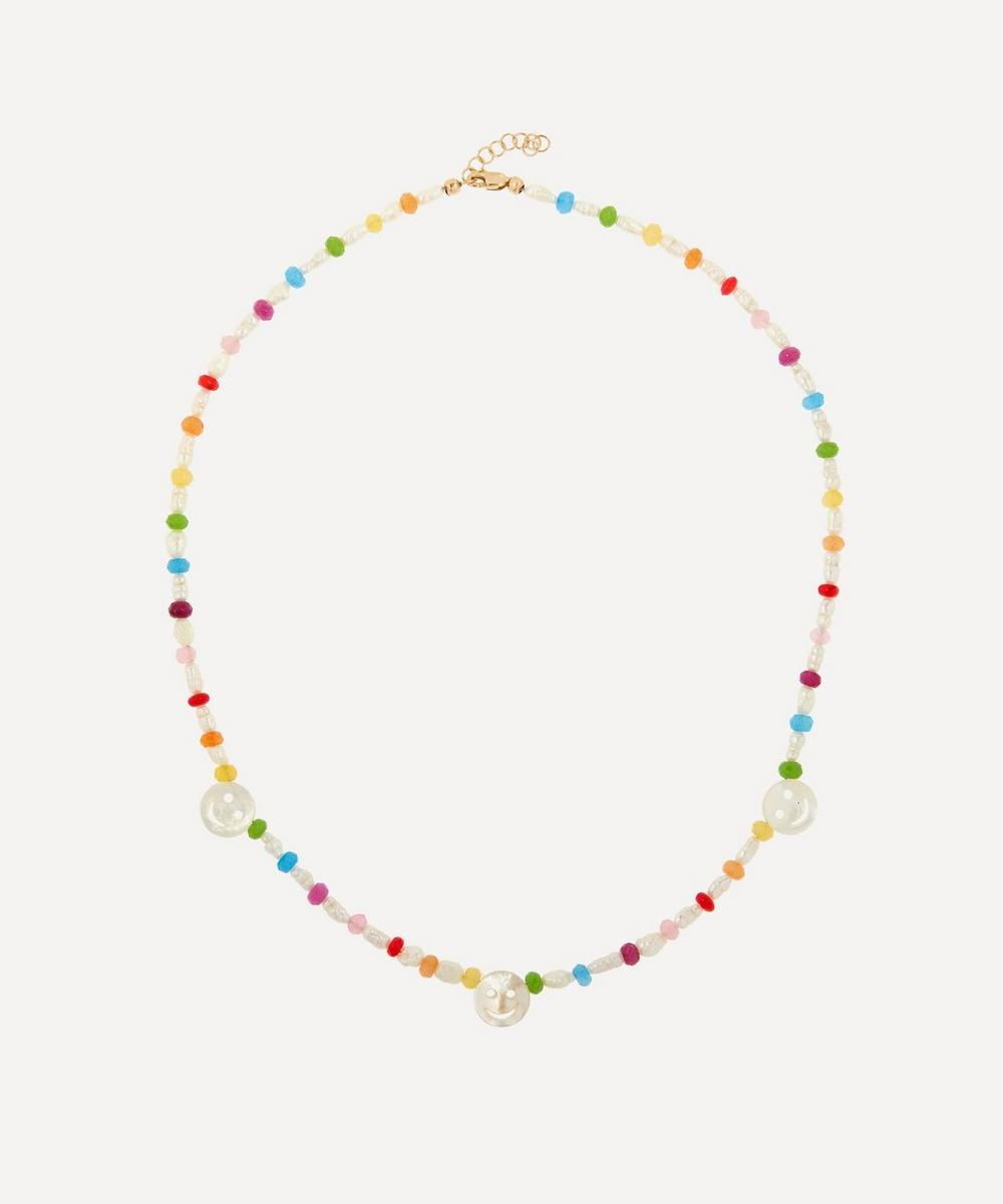 Roxanne First - Disco Mother of Pearl and Rainbow Agate Beaded Necklace