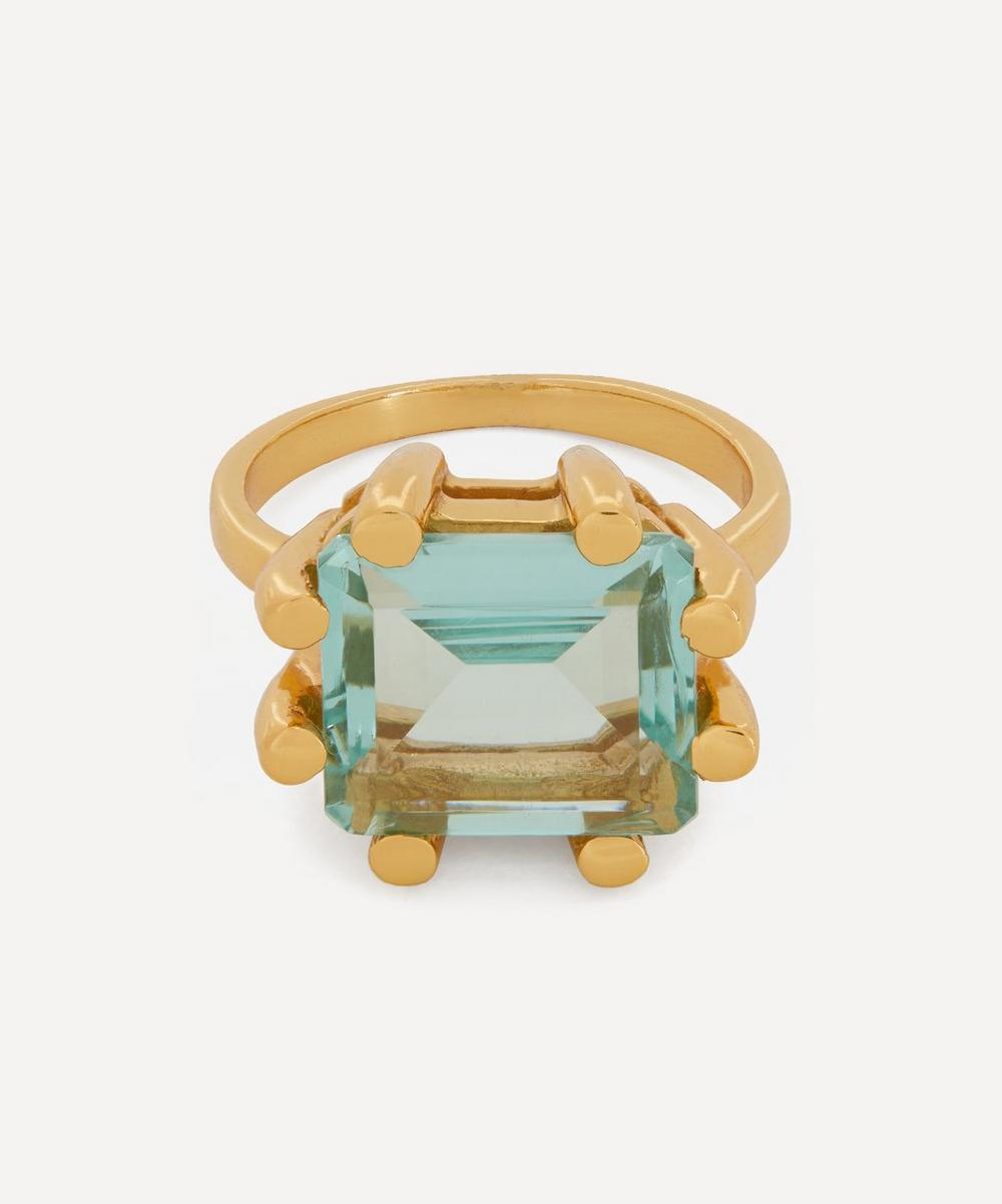 Shyla - Gold-Plated Square Claw Glass Stone Ring