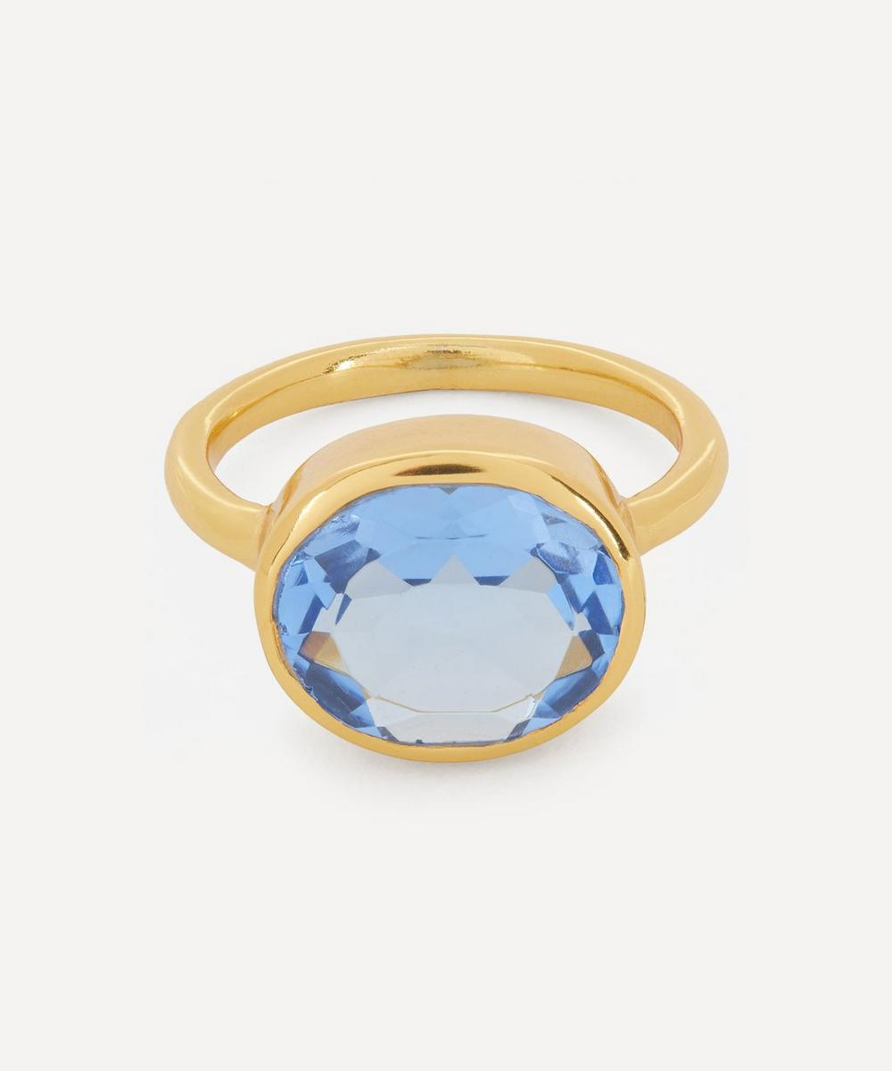 Shyla - Gold-Plated Oval Chunky Glass Stone Ring